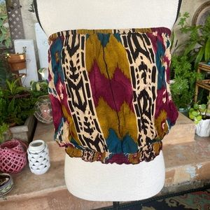 Poetry Strapless Purple Gold Ikat Pattern Top M
